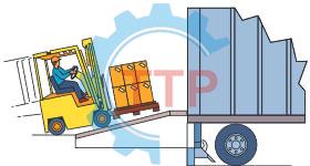 Xe tải hàng cao hơn dock leveler xe nâng có thể chạy lên dốc thông qua dock để vào xe chở hàng giúp an toàn cho người và hàng hóa